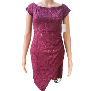 Bailey Blue Womens Bodycon Dress Wine Ruched Off S
